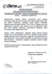 PENGUMUMAN PELAKSANAAN REGISTRASI SEM. GENAP T.A 2017-2018