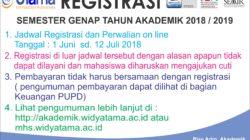 Registrasi Semester Ganjil Tahun Akademik 2018/2019