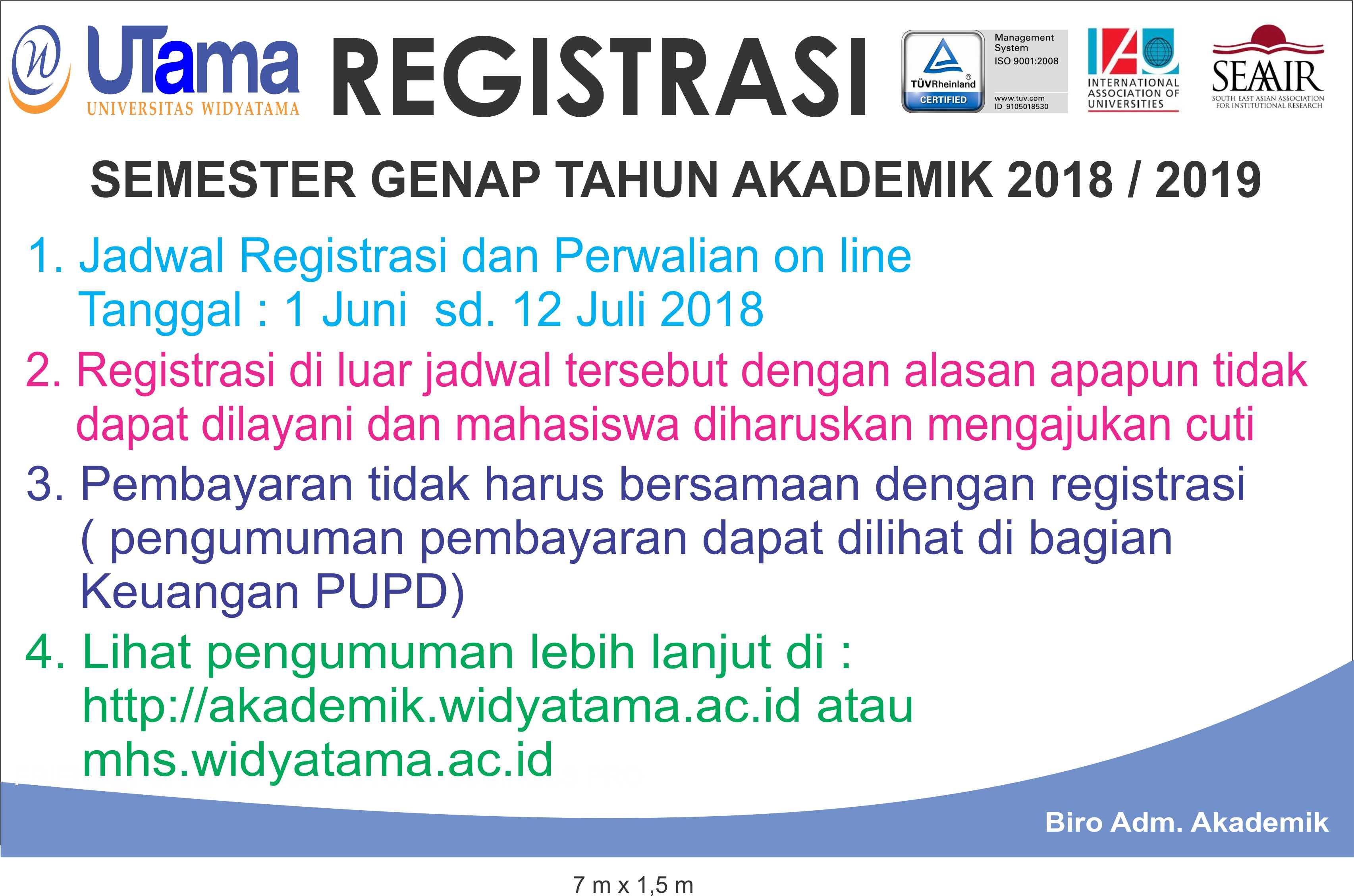 Registrasi Semester Ganjil Tahun Akademik 2018 2019 Portal Mahasiswa