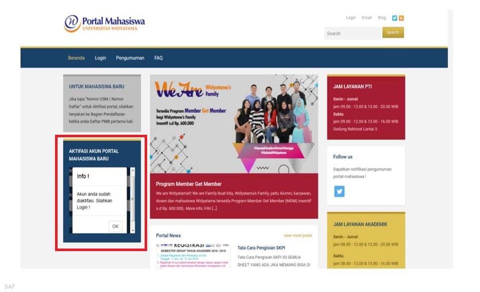 Aktivasi Portal Mahasiswa 2