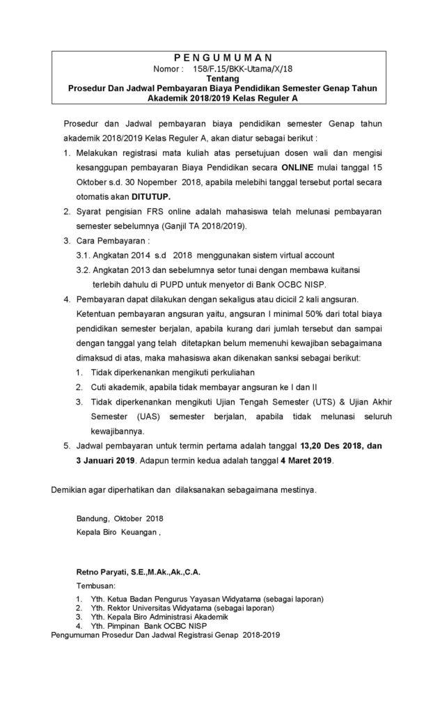 PENGUMUMAN PROSEDUR DAN JADWAL REGISTRASI Genap 2018-2019