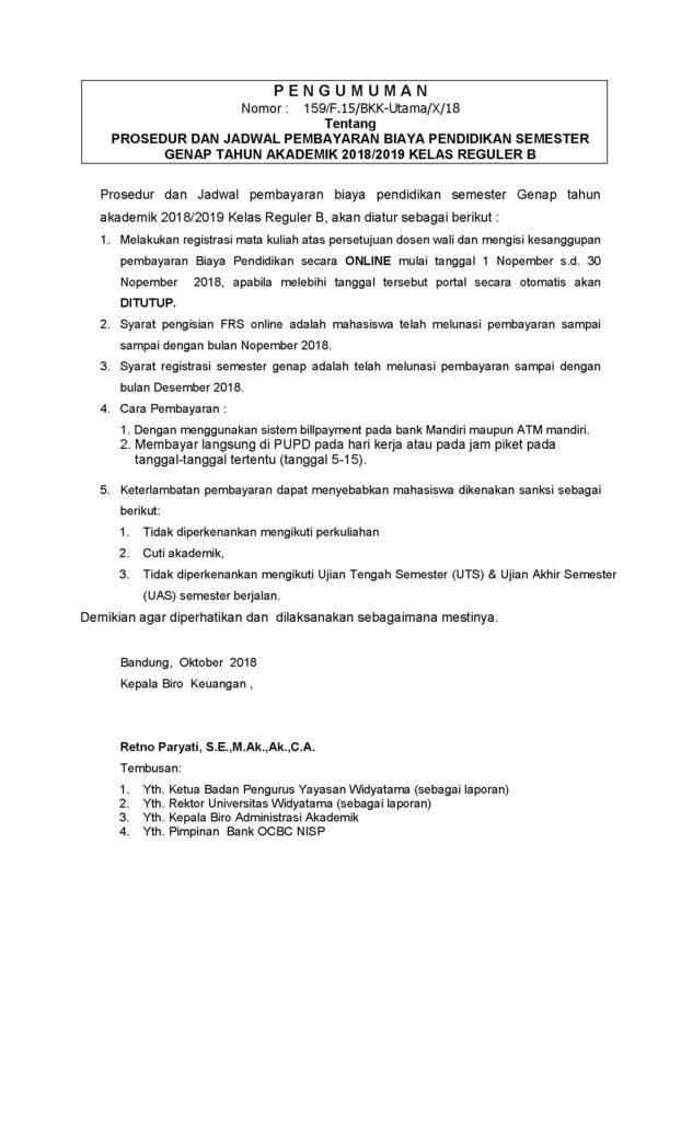 PENGUMUMAN PROSEDUR DAN JADWAL REGISTRASI Genap 2018-2019B