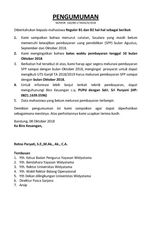 PENGUMUMAN TUNGGAKAN SD OKTOBER 2018