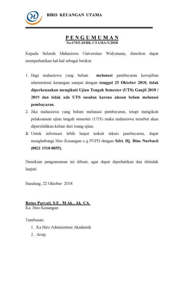 Pengumuman UTS Ganjil Reg A TA 2018-2019