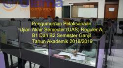 Pengumuman Pelaksanaan Ujian Akhir Semester (UAS) Reguler A, B1 Dan B2 Semester Ganjil Tahun Akademik 2018/2019