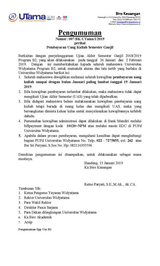 PENGUMUMAN SPP UAS B2 15-01-19