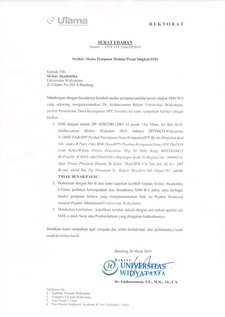 Surat No.132 (Edaran Modus Penipuan Melalui Pesan Singkat)