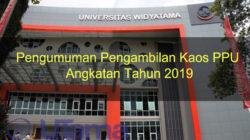 Pengumuman Pengambilan Kaos PPU Angkatan Tahun 2019