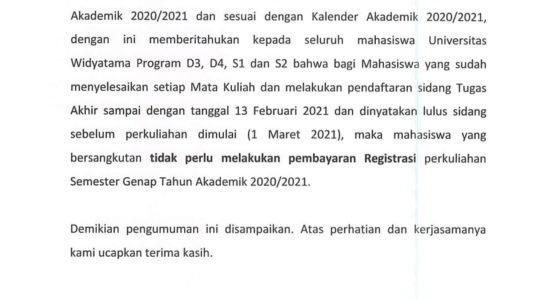 Pengumuman Registrasi dan Aktivasi Semester Genap TA 2020-2021