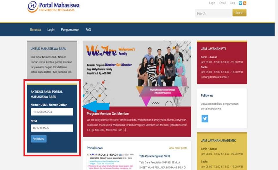 Aktivasi Portal Mahasiswa